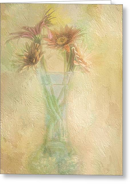 Perky Greeting Cards - A Vase Of Gerbera Daisies In the Sun Greeting Card by Diane Schuster