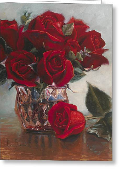 Vase Of Flowers Greeting Cards - A Vase Of Love Greeting Card by Lucie Bilodeau