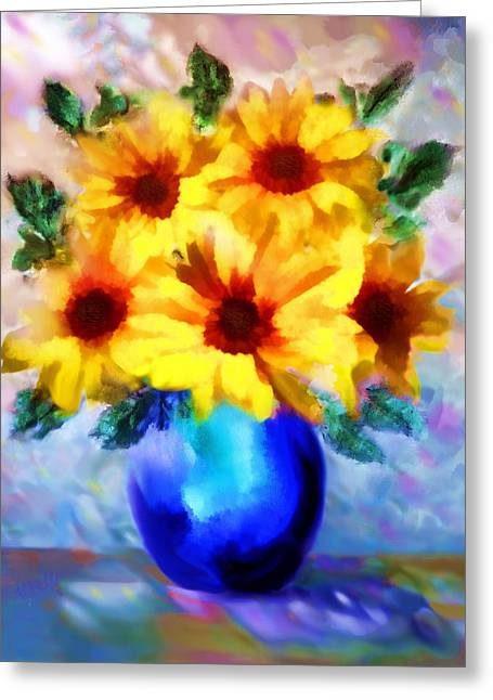 Valzart Greeting Cards - A vase of Sunflowers Greeting Card by Valerie Anne Kelly