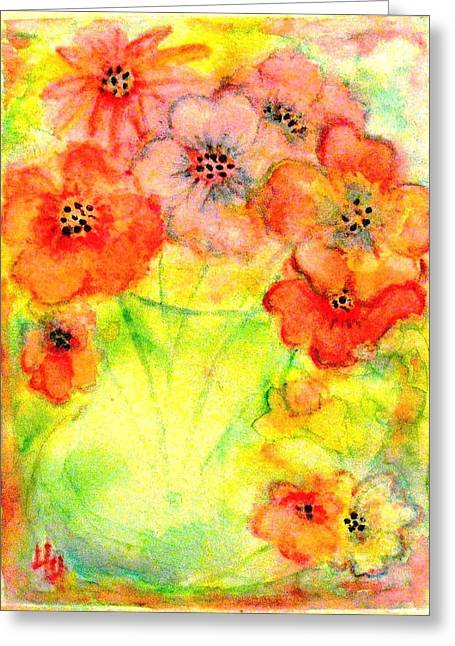 Glass Vase Greeting Cards - A Vaseful of Sunshine Greeting Card by Hazel Holland