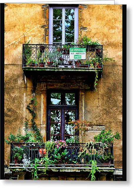 Flower Boxes Greeting Cards - A vendre Lyon France Greeting Card by Tom Prendergast