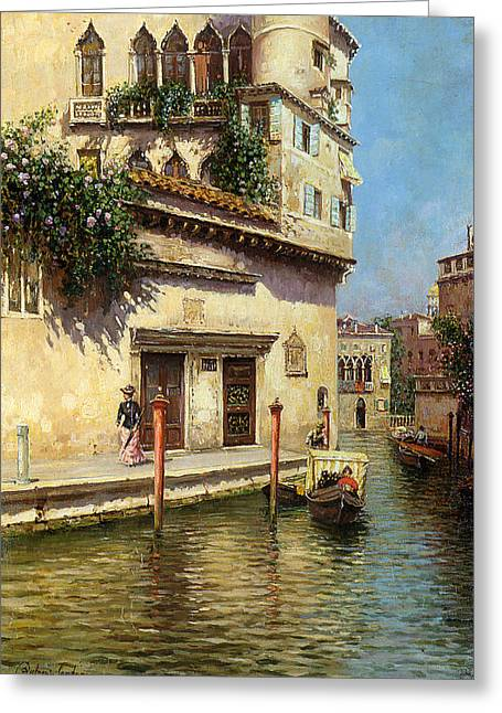 Woman In A Dress Greeting Cards - A Venetian Backwater Greeting Card by Rubens Santoro