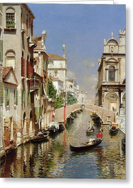 Scuola Di San Marco Greeting Cards - A Venetian Canal  Greeting Card by Rubens Santoro