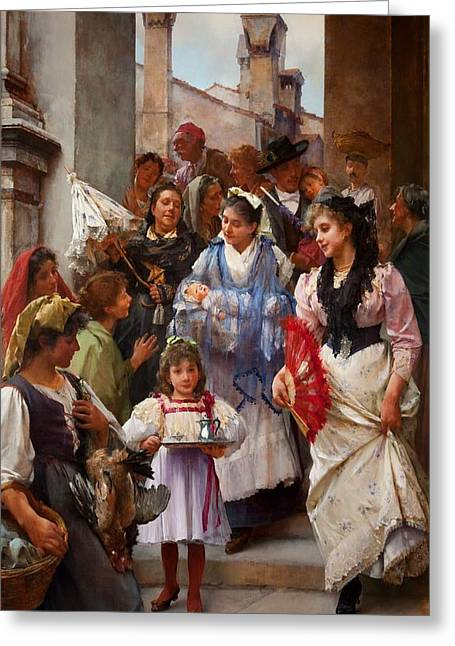 Religious Paintings Greeting Cards - A Venetian Christening Party, 1896 Greeting Card by Henry Woods