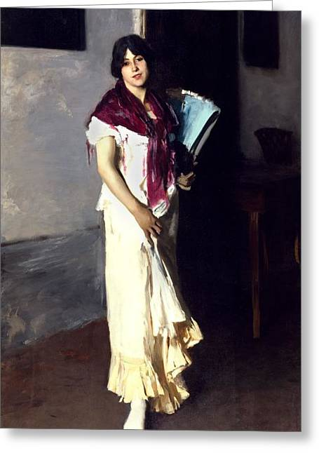 Full-length Portrait Greeting Cards - A Venetian Woman, 1882 Oil On Canvas Greeting Card by John Singer Sargent