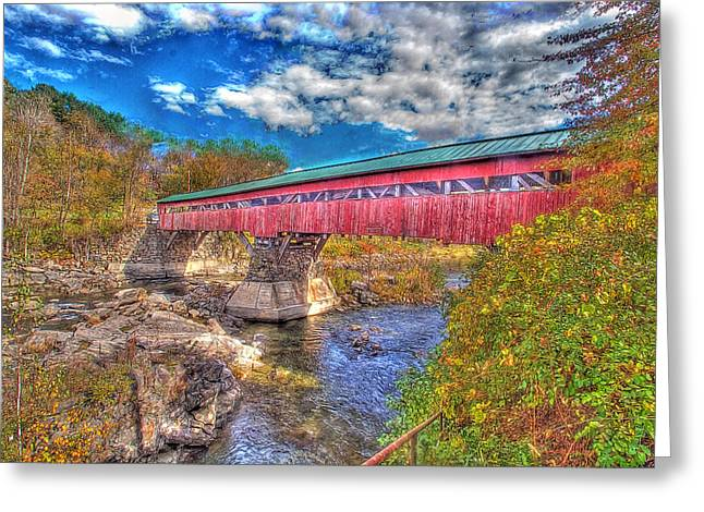 A Vermont Covered Bridge Taftsville Covered Bridge Greeting Card by Constantine Gregory