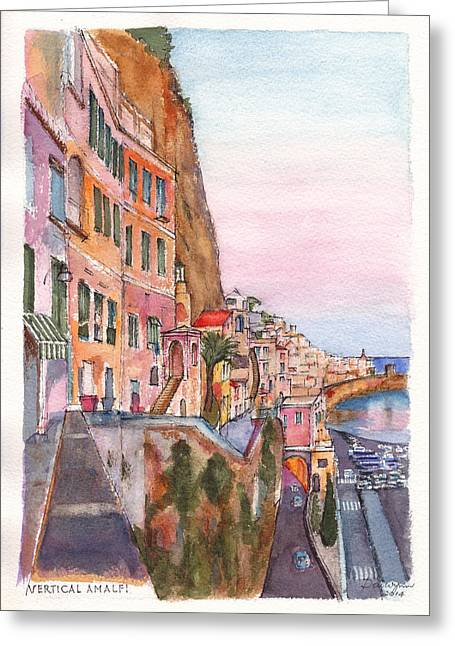 Amalfi Sunset Greeting Cards - A vertical Amalfi at Sunset Greeting Card by Dai Wynn