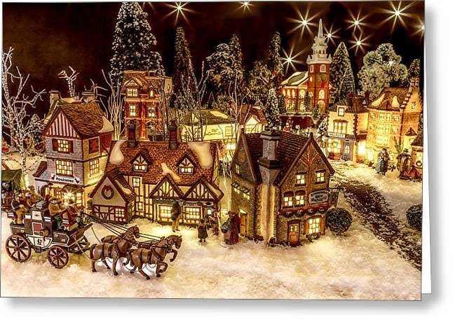 Christmas Village Greeting Cards - A Very Merry Christmas Greeting Card by Caitlyn  Grasso