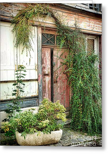French Doors Greeting Cards - A Very Old Door Greeting Card by Olivier Le Queinec