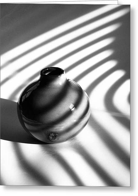 Round Ceramics Greeting Cards - A Vessel...black And White Greeting Card by Tom Druin