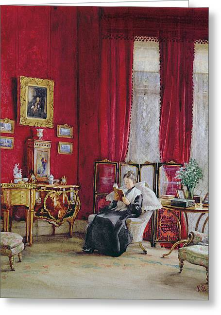 Screen Greeting Cards - A Victorian Interior With A Lady Reading Greeting Card by English School