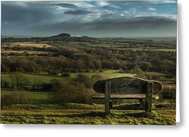 Park Benches Greeting Cards - A view across to Birmingham Greeting Card by Chris Fletcher