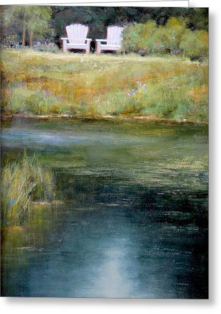 Pond Gardens Greeting Cards - A View For Two  Greeting Card by Lori  McNee