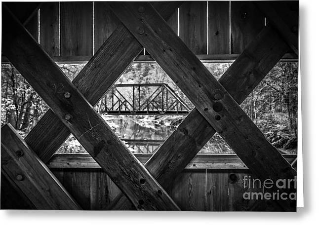 Timber Posts Greeting Cards - A view from an old covered bridge in Vermont Greeting Card by Edward Fielding