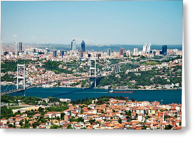 Marmara Greeting Cards - A View From Camlica Hill Towards Istanbul And The Bosphorus Brid Greeting Card by Leyla Ismet