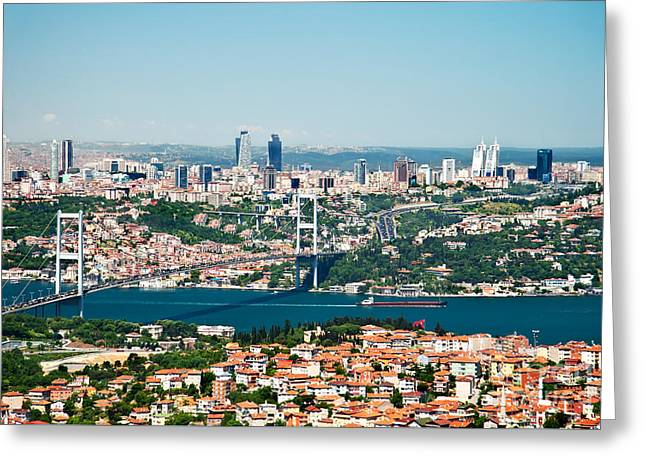 A View From Camlica Hill Towards Istanbul And The Bosphorus Brid Greeting Card by Leyla Ismet