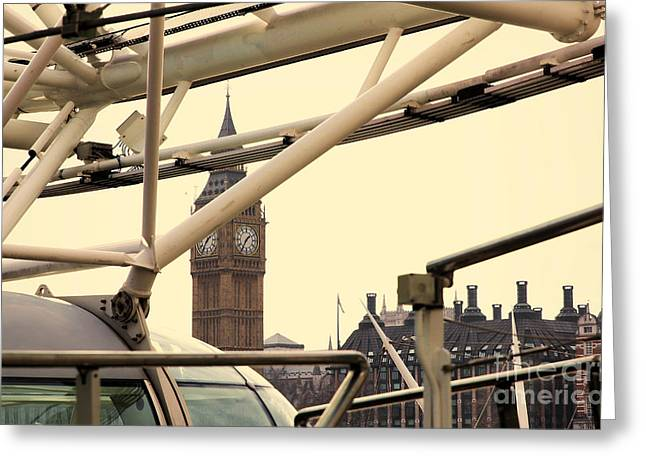 Indian Summer Greeting Cards - A view from the London Eye cabin Greeting Card by Indian Summer