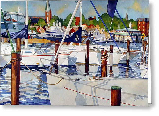 Recently Sold -  - Blue Sailboat Greeting Cards - A view from the pier Greeting Card by Mick Williams