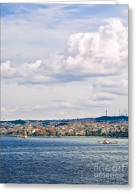 Marmara Greeting Cards - A View From Topkapi Palace Towards The Maiden Tower Greeting Card by Leyla Ismet