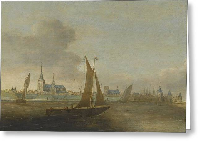 Seascape With A Boat Greeting Cards - A View Of A Walled City On An Estuary Greeting Card by Hans Goderis