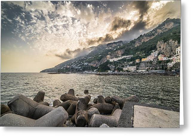 Amalfi Sunset Greeting Cards - A view of Amalfi in Italy Greeting Card by Giuseppe Milo