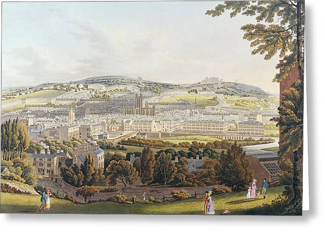 Engraving Greeting Cards - A View of Bath Greeting Card by English School