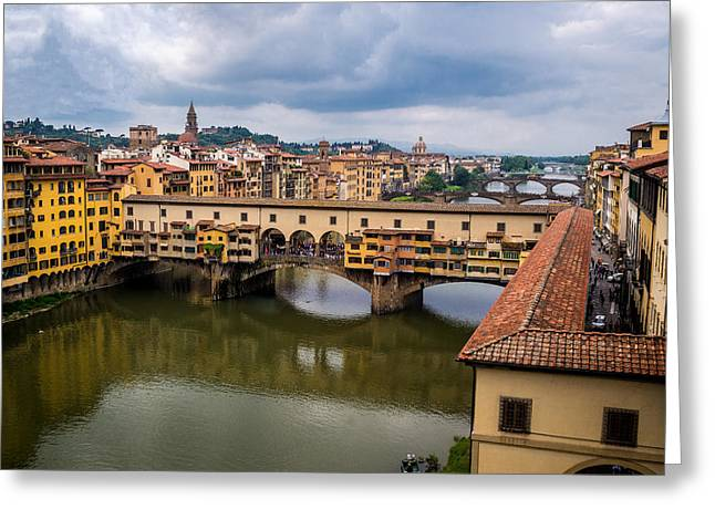 San Rafael Church Greeting Cards - A View of Ponte Vecchio from the Uffizi Greeting Card by Arnaldo Torres