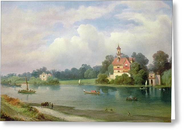Thames Greeting Cards - A View Of Popes House And Radnor House At Twickenham Greeting Card by Alexandre le Bihan