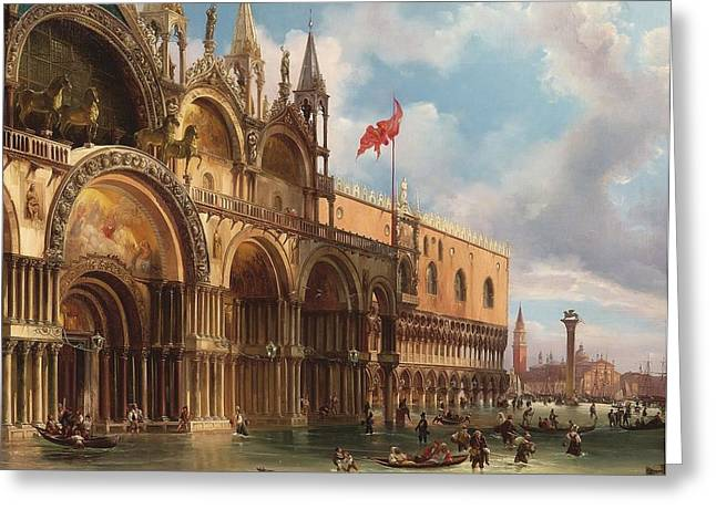 Acqua Greeting Cards - A View Of Saint Marks Square With The Acqua Alta Greeting Card by Celestial Images