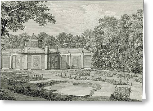 Garden Drawings Greeting Cards - A View of the Aviary and Flower Garden at Kew Greeting Card by Thomas Sandby