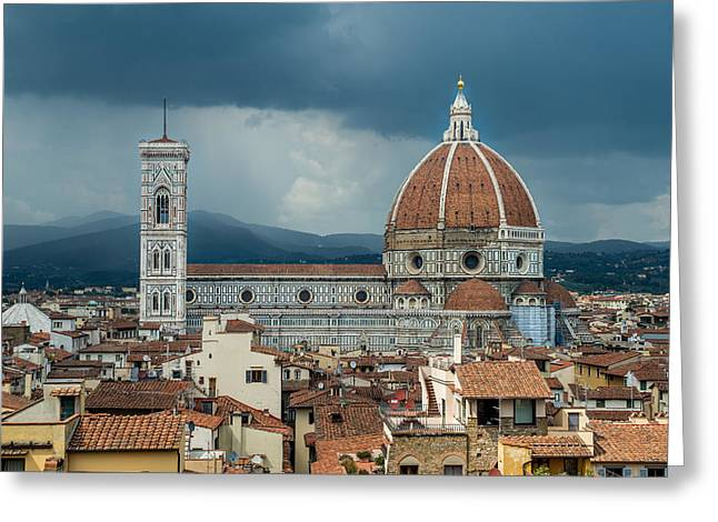 San Rafael Church Greeting Cards - A View of the Duomo of Florence Greeting Card by Arnaldo Torres