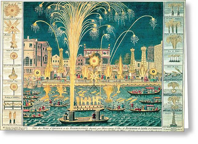 Catherine Wheel Greeting Cards - A View Of The Fireworks And Illuminations At His Grace The Duke Of Richmonds At Whitehall Greeting Card by English School