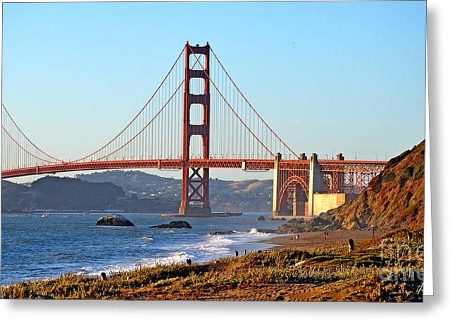 Famous Bridge Greeting Cards - A View of the Golden Gate Bridge from Bakers Beach  Greeting Card by Jim Fitzpatrick