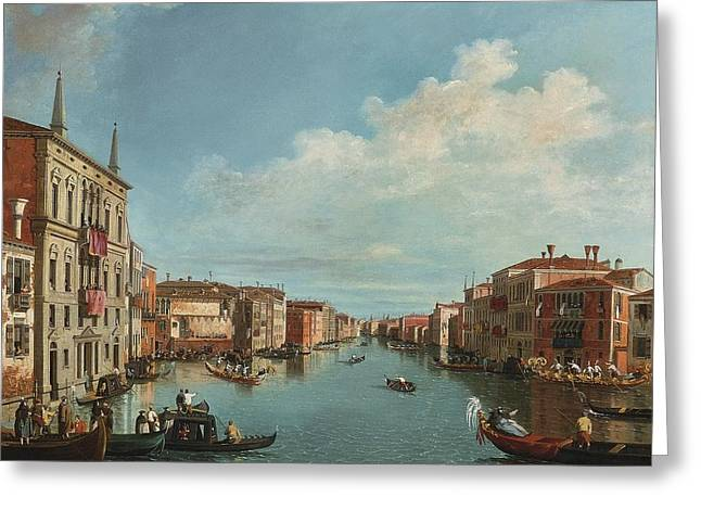 The Followers Greeting Cards - A View Of The Grand Canal With A Regatta Greeting Card by Celestial Images