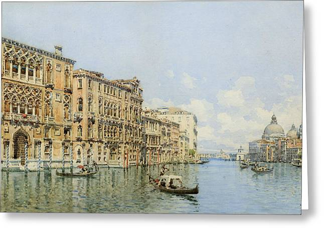 Canal Drawings Greeting Cards - A View Of The Grand Canal With Palazzo Greeting Card by Gino de Colle