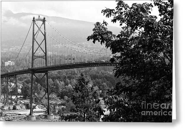 Burrard Inlet Greeting Cards - A View of the Lions Gate Bridge mono Greeting Card by John Rizzuto