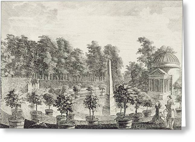 Garden Drawings Greeting Cards - A View of the Orangery Greeting Card by Pieter Andreas Rysbrack