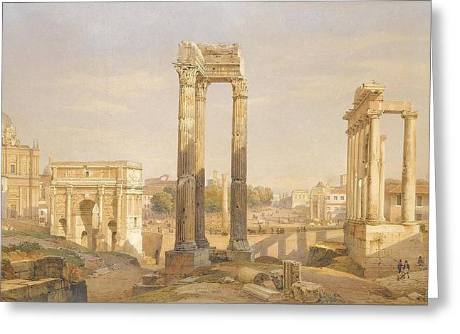 Middle Ground Greeting Cards - A View Of The Roman Forum With Oxen And Carts Greeting Card by Celestial Images