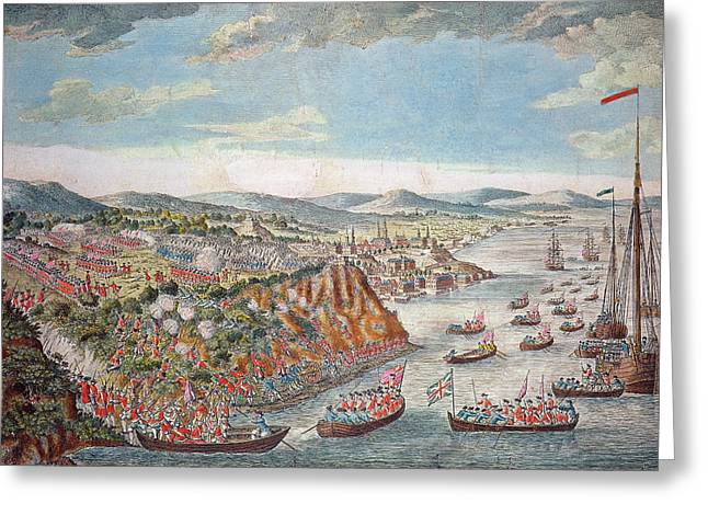 Troops Greeting Cards - A View Of The Taking Of Quebec, September 13th 1759 Colour Engraving Greeting Card by English School