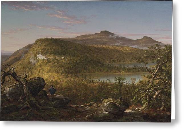 Thomas Cole Greeting Cards - A View of the Two Lakes and Mountain House Catskill Mountains Morning Greeting Card by Thomas Cole