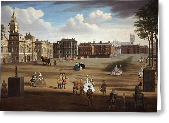 Westminster Greeting Cards - A View Of The West Front Of Horse Greeting Card by Samuel Wale