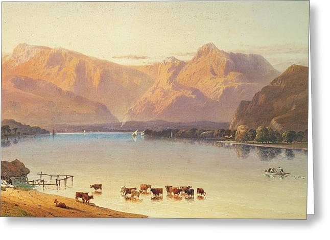 Lake Paintings Greeting Cards - A View Of Windermere Greeting Card by Aaron Edwin Penley