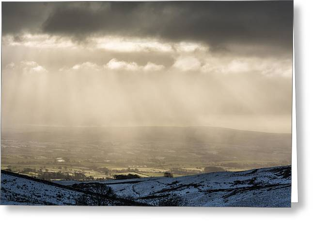Cold Greeting Cards - A View Over Ingleton. Greeting Card by Daniel Kay
