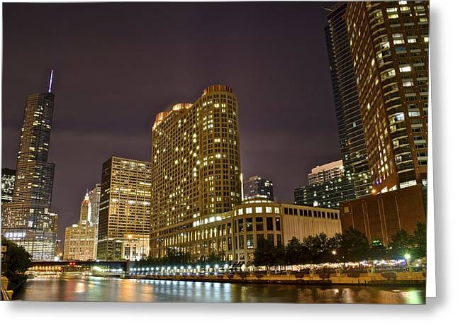 Chicago Bulls Greeting Cards - A View over the Chicago River Greeting Card by Frozen in Time Fine Art Photography