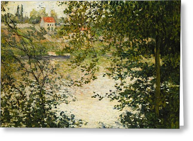 Besides Greeting Cards - A View Through the Trees of La Grande Jatte Island Greeting Card by Claude Monet