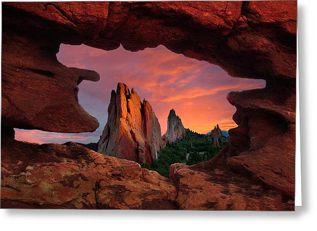 A View Through Window Rock At Siamese Twins Greeting Card by John Hoffman