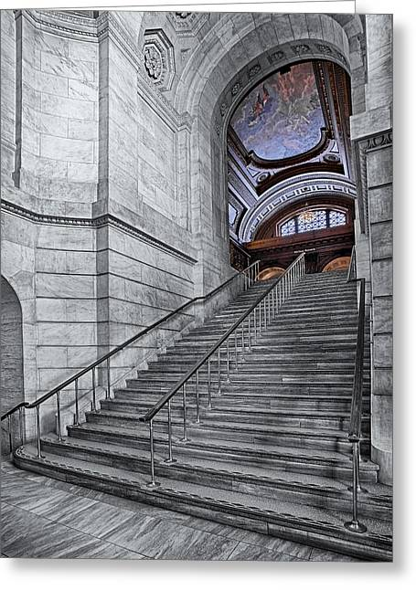 A View To The Mcgraw Rotunda Nypl Greeting Card by Susan Candelario