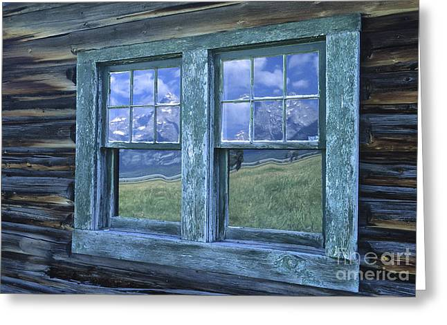Window Frame Greeting Cards - A View to the Tetons Greeting Card by Sandra Bronstein