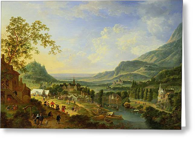 Tent Greeting Cards - A Village Fete In The Rhine Valley Oil Greeting Card by Jan the Elder Griffier