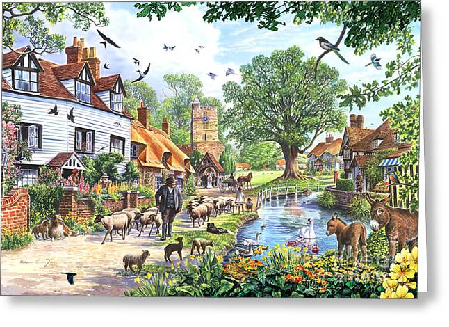 Flower Blooms Greeting Cards - A Village in Spring Greeting Card by Steve Crisp